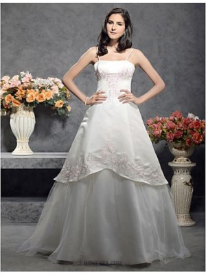A line Princess Spaghetti Straps Floor Length Satin Tulle Wedding Dress