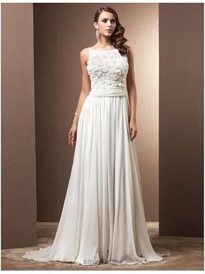 A line Jewel Sweep Brush Train Chiffon Wedding Dress with Flower Ruche