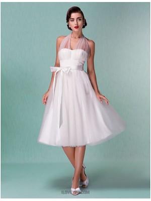 A Line Halter Knee Length Satin Tulle Wedding Dress with Sash Ribbon Bow