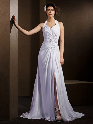 A line Halter Court Train Chiffon Wedding Dress with Beading Appliques Bow Criss Cross Ruche