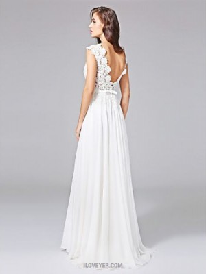 A line Jewel Sweep Brush Train Chiffon Lace Wedding Dress with Sash Ribbon Bow Button