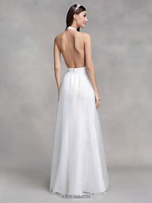 A line Halter Floor Length Chiffon Tulle Wedding Dress with Draped