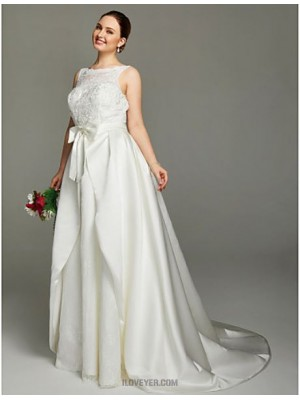 A Line Jewel Neck Court Train Lace Satin Wedding Dress with Appliques Bow Sashes Ribbons