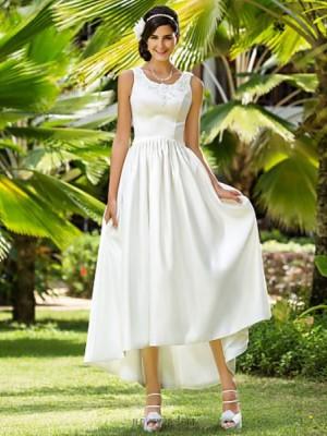 A line Princess Scoop Neck Asymmetrical Satin Wedding Dress with Beading Appliques Pocket