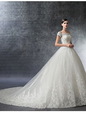 A line Off the shoulder Cathedral Train Satin Tulle Wedding Dress with Crystal Beading Appliques Ruffle