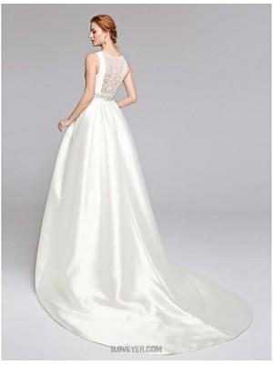 A line Bateau Sweep Brush Train Lace Satin Wedding Dress with Beading Lace Sash Ribbon