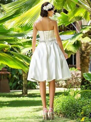 A line Princess Sweetheart Knee Length Satin Wedding Dress with Beading Sash Ribbon Criss Cross