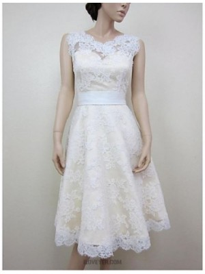 A line Jewel Knee Length Lace Satin Wedding Dress with Appliques Lace