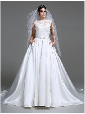 A Line Princess Bateau Neck Chapel Train Satin Wedding Dress with Appliques Bow Button