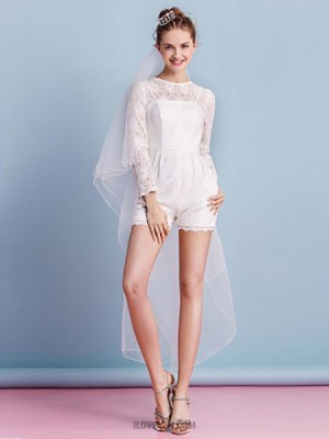 Sheath Column Jewel Short Mini Lace Wedding Dress with Sash Ribbon Bow Pocket