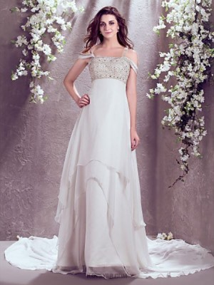 A line Off the shoulder Court Train Chiffon Wedding Dress with Beading
