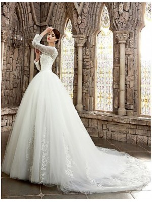A Line Bateau Neck Cathedral Train Satin Wedding Dress with Beading Appliques Ed Bridal