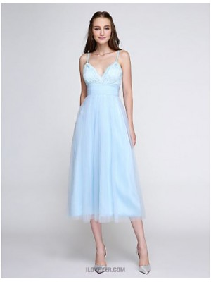 A Line Spaghetti Straps Tea Length Lace Tulle Bridesmaid Dress with Lace