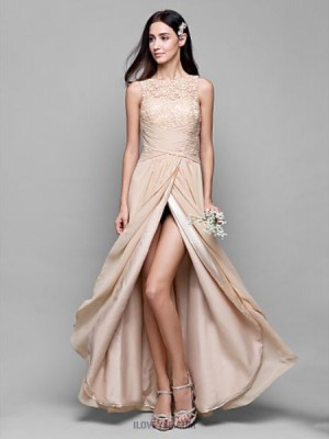 A Line Bateau Neck Asymmetrical Chiffon Lace Bridesmaid Dress with Lace Criss Cross