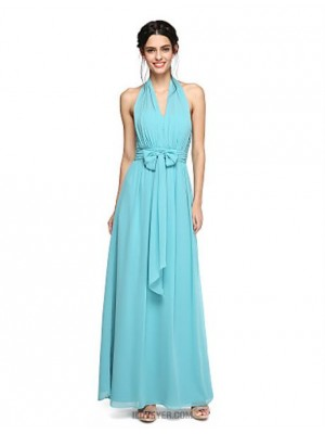 A Line Halter Floor Length Chiffon Bridesmaid Dress with Bow Ruching