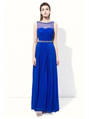 A Line Jewel Neck Floor Length Tulle Bridesmaid Dress with Pearl Detailing Side Draping