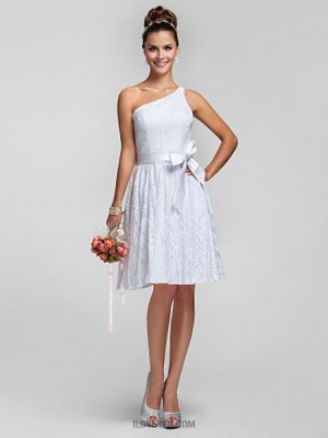 A Line Princess Sexy One Shoulder Knee Length Lace Bridesmaid Dress with Lace Sash Ribbon