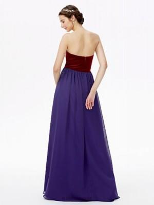 A Line Sweetheart Floor Length Chiffon Velvet Bridesmaid Dress with Pleats
