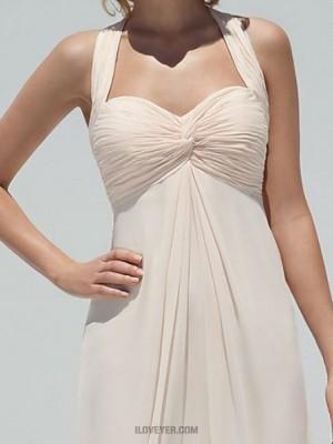 A Line Halter Floor Length Chiffon Bridesmaid Dress with Buttons Criss Cross