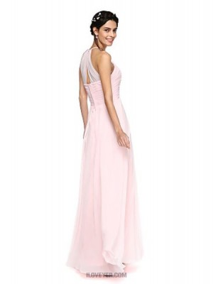 A Line Jewel Neck Floor Length Lace Georgette Bridesmaid Dress with Lace