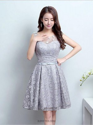 A Line Jewel Neck Short Mini Lace Tulle Bridesmaid Dress with Lace
