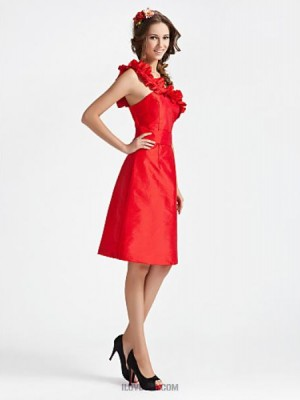 A Line Princess Sexy One Shoulder Knee Length Taffeta Bridesmaid Dress with Sash Ribbon Ruffles