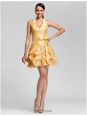 A Line Ball Gown Halter V neck Short Mini Taffeta Bridesmaid Dress with Beading Pick Up Skirt Ruffles
