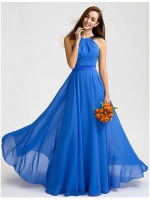 A Line Jewel Neck Floor Length Chiffon Bridesmaid Dress with Lace Sash Ribbon