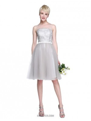 A Line Jewel Neck Knee Length Lace Tulle Bridesmaid Dress with Appliques Sash Ribbon
