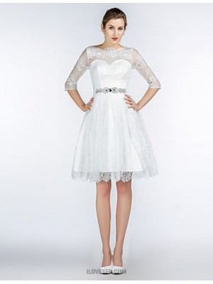 A Line Jewel Neck Knee Length Lace Satin Tulle Bridesmaid Dress with Crystal Detailing