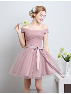 A Line Off the shoulder Knee Length Satin Tulle Bridesmaid Dress with Bow
