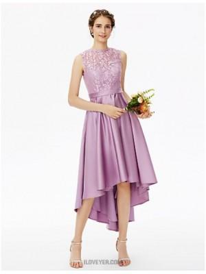 A Line Jewel Neck Asymmetrical Lace Satin Bridesmaid Dress with Lace Sash Ribbon Pleats