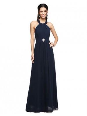 A Line Halter Floor Length Chiffon Bridesmaid Dress with Crystal Brooch Pleats
