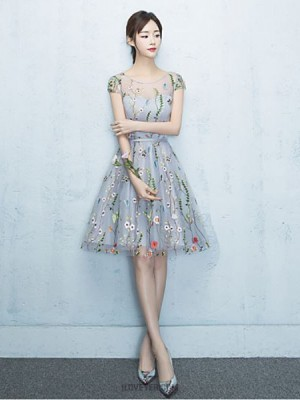 A Line Jewel Neck Knee Length Lace Tulle Bridesmaid Dress with Embroidery
