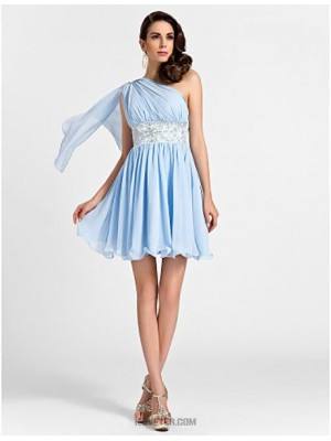 A Line Princess Sexy One Shoulder Short Mini Chiffon Bridesmaid Dress with Beading Draping Embroidery Side Draping