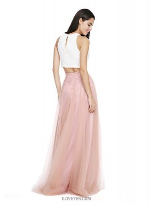 A Line Jewel Neck Floor Length Lace Tulle Bridesmaid Dress with Sash Ribbon Ruching