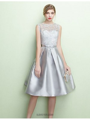 A Line Jewel Neck Tea Length Jersey Bridesmaid Dress with Lace Sash Ribbon
