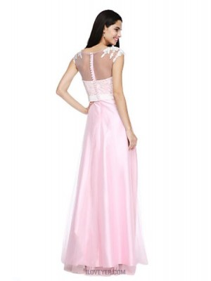 A Line Bateau Neck Floor Length Tulle Stretch Satin Bridesmaid Dress with Appliques Bow Buttons Sash Ribbon