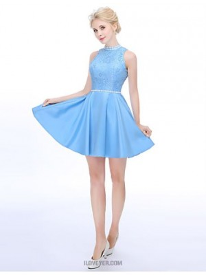 Line High Neck Short Mini Lace Satin Bridesmaid Dress with Draping Pearl Detailing