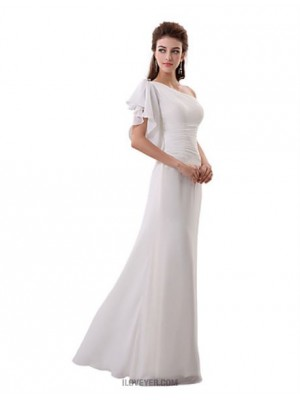 A Line Sexy One Shoulder Floor Length Chiffon Bridesmaid Dress with Crystal Detailing Side Draping