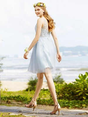 A Line Bateau Neck Knee Length Lace Tulle Bridesmaid Dress with Sash Ribbon Crystal Brooch