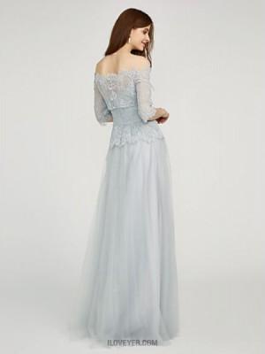 A Line Bateau Neck Floor Length Chiffon Lace Bridesmaid Dress with Flower Lace Sash Ribbon