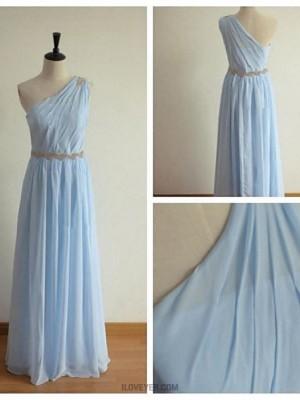 A Line Sexy One Shoulder Floor Length Chiffon Bridesmaid Dress with Beading Sash Ribbon