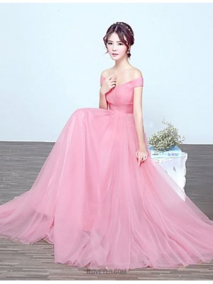A Line Off the shoulder Floor Length Tulle Bridesmaid Dress with Draping