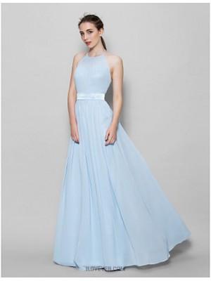 A Line Halter Floor Length Chiffon Bridesmaid Dress with Sash Ribbon Pleats