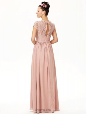 A Line Jewel Neck Floor Length Chiffon Lace Bridesmaid Dress with Bow Sash Ribbon Pleats