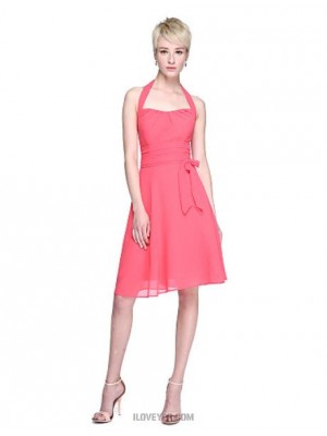 A Line Halter Knee Length Chiffon Bridesmaid Dress with Bow Ruching Pleats