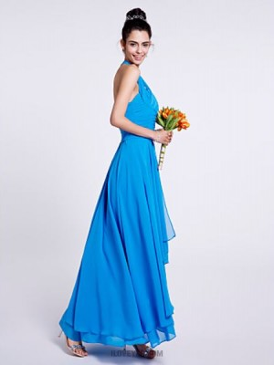 A Line Sexy One Shoulder Asymmetrical Chiffon Bridesmaid Dress with Draping Ruching
