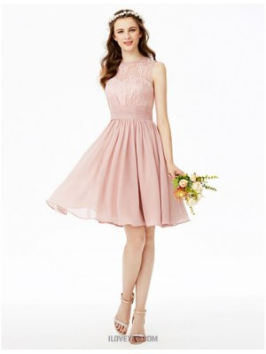 A Line Jewel Neck Knee Length Chiffon Lace Bridesmaid Dress with Lace Sash Ribbon Ruching Pleats