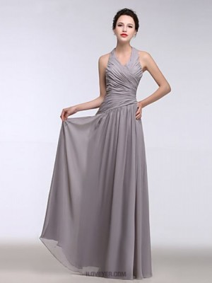 A Line Halter Floor Length Chiffon Bridesmaid Dress with Side Draping